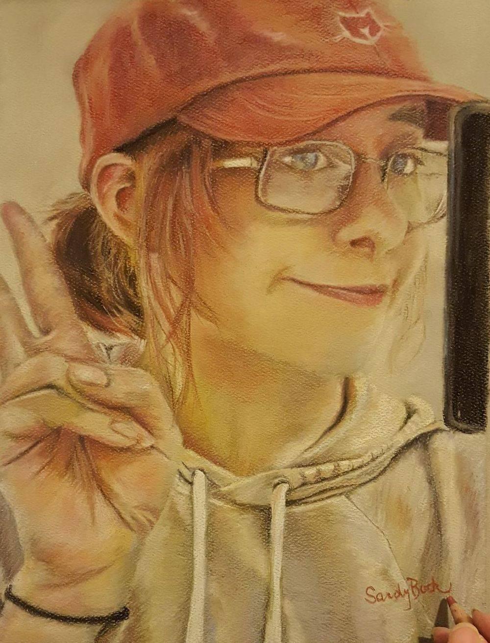 selfie, portrait, people, young woman portrait, art, sandy bock