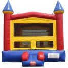 Castle moon bounce with front slide