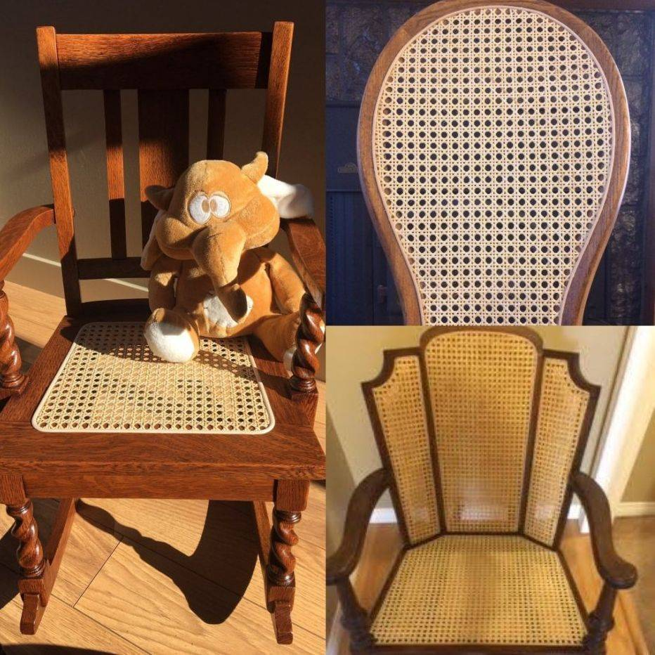 Examples of pre-woven cane chairs