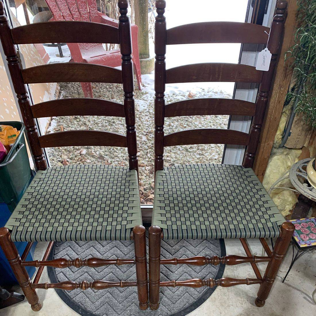 Ladder Back Chairs with Shaker Tape by Hank's Cane & Rush Restoration