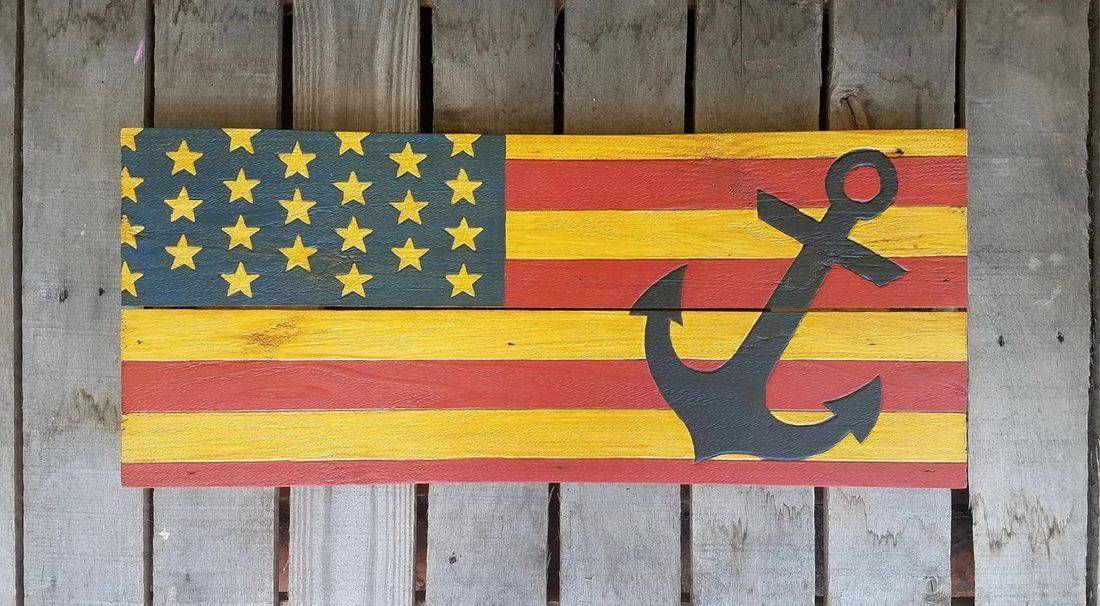 American Flag Handmade Reclaimed Pallet Wood Anchor Sign Decor beach