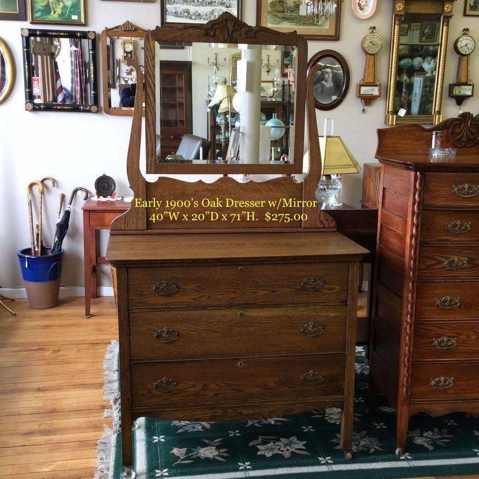 "Early 1900's 3-Drawer Oak Dresser w/Mirror 40""W x 20""D x 35""H (Mirror Hgt. 71"")   $275.00"