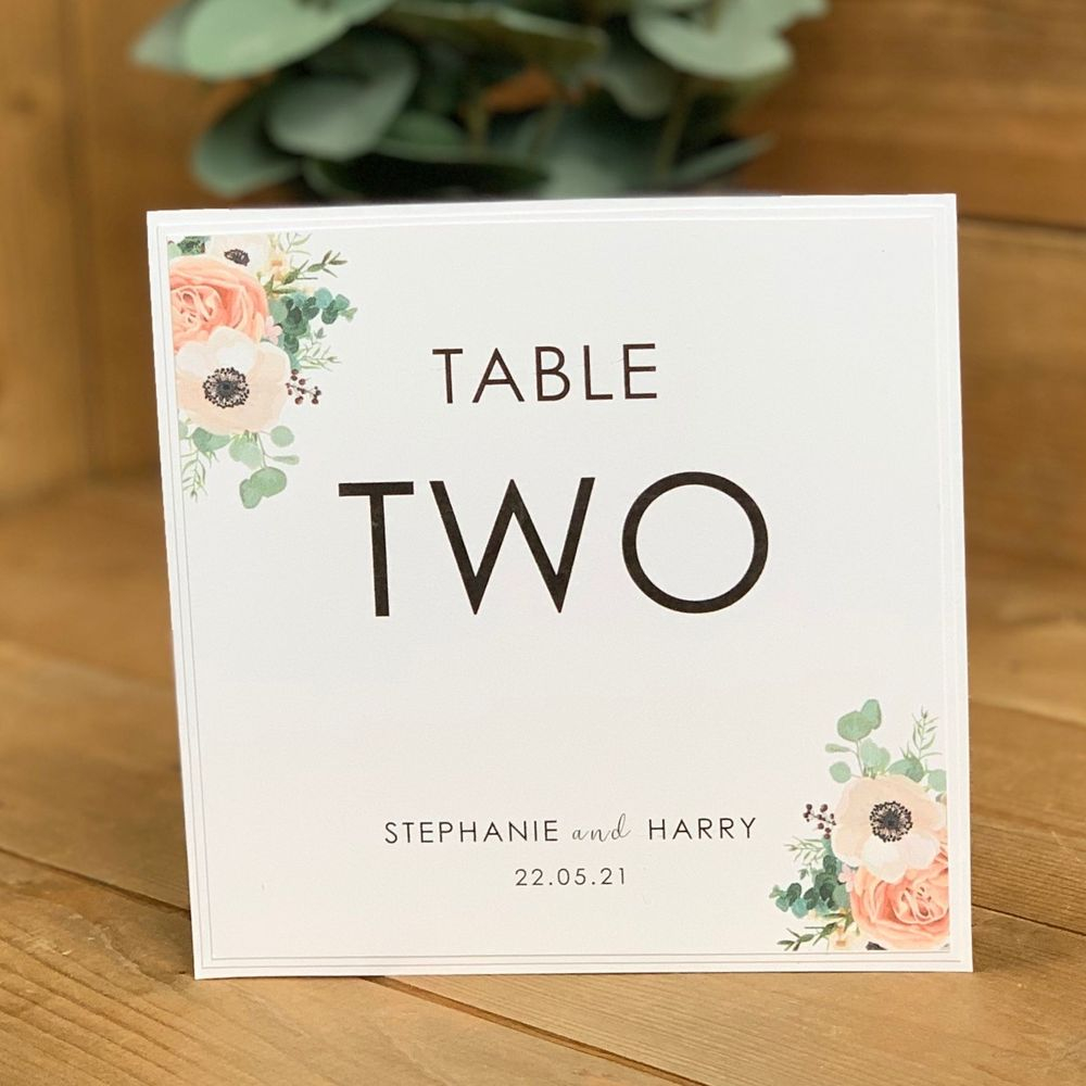 Wedding Table Name or number card in white with eucalyptus and pink