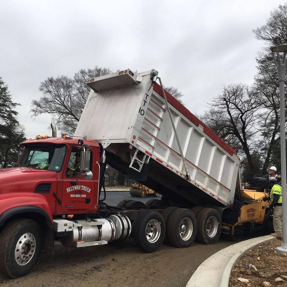 asphalt pour for roadway of campus