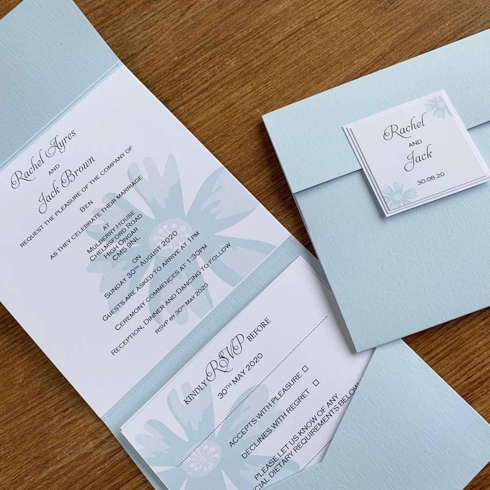 Pale Blue and White Wedding Invitation