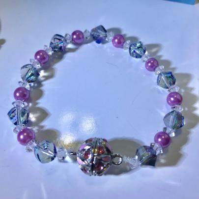 pink pearl bracelet, pink and blue bracelet, women crystal and pearl bracelet, women swarovski bracelet