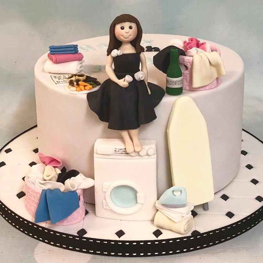 Birthday Cake Novelty Ironing Washing Maching Prosecco Laundry
