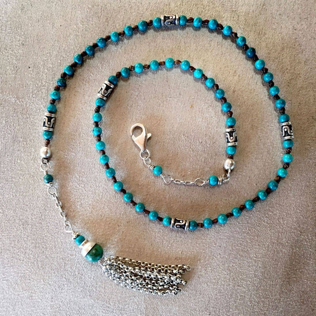 """17.5"""" turquoise  Gemstone Wrap Bracelet with Sterling Silver channel beads, Chain clasp and Tassel"""