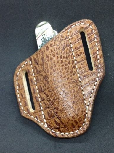 alligator print knife sheath , case trapper sheath ,