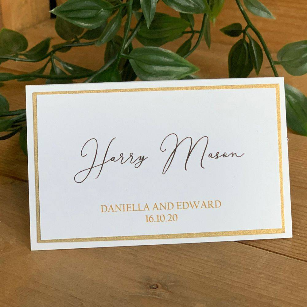 White and Gold Wedding Place Name with printed guest name