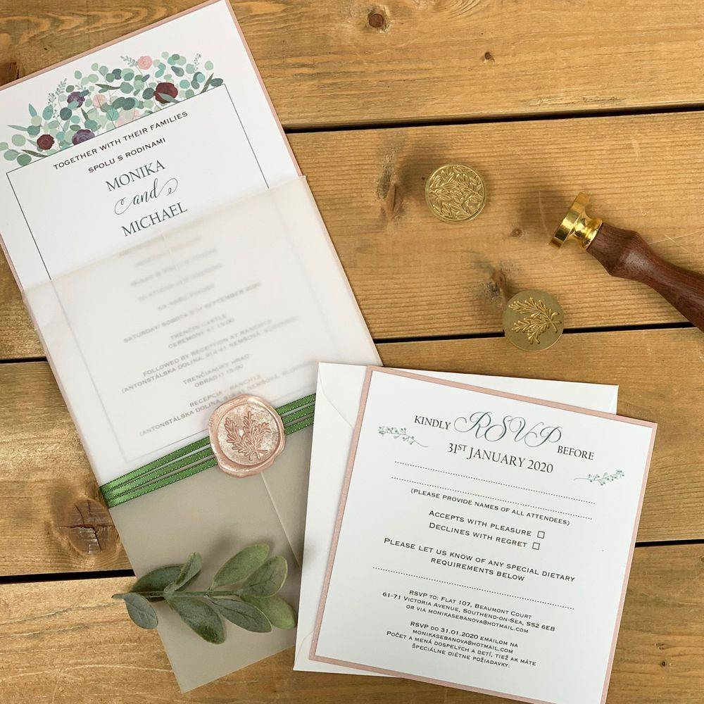 Wax seal Wedding Invitation with RSVP
