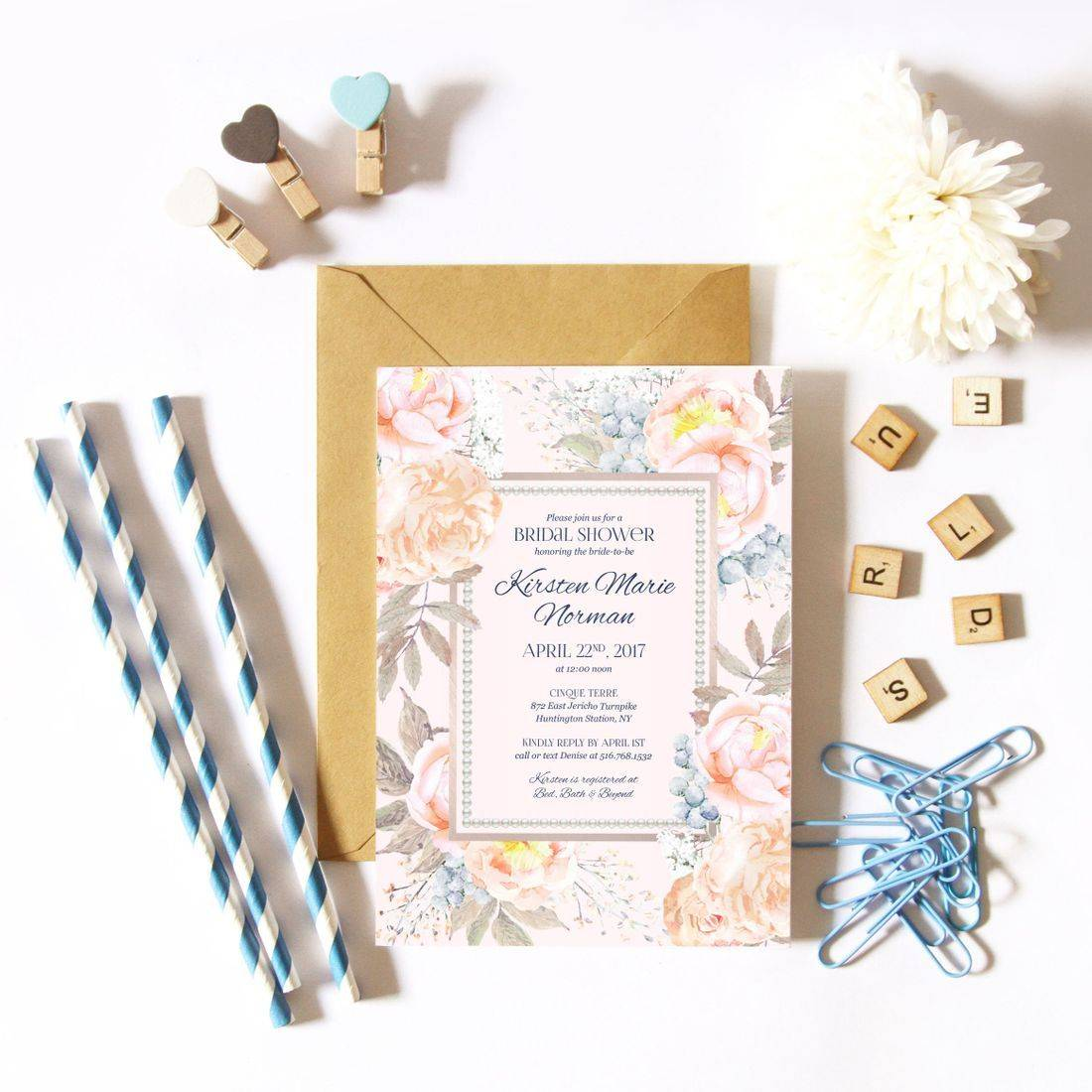Peach, blush and pearl bridal shower invitations