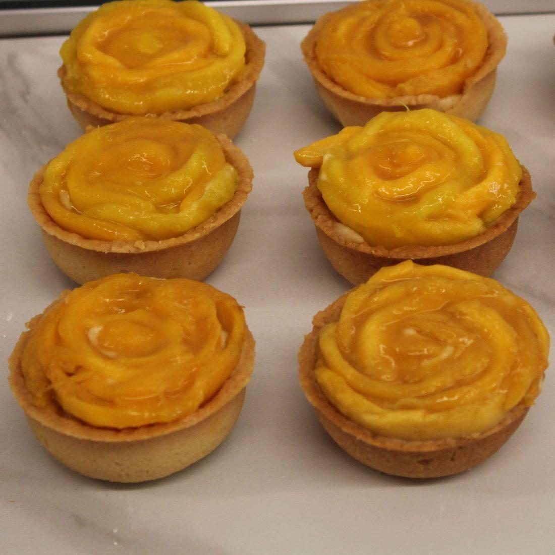 Peach tarts, fresh fruit tarts, mango tarts, apricot tarts