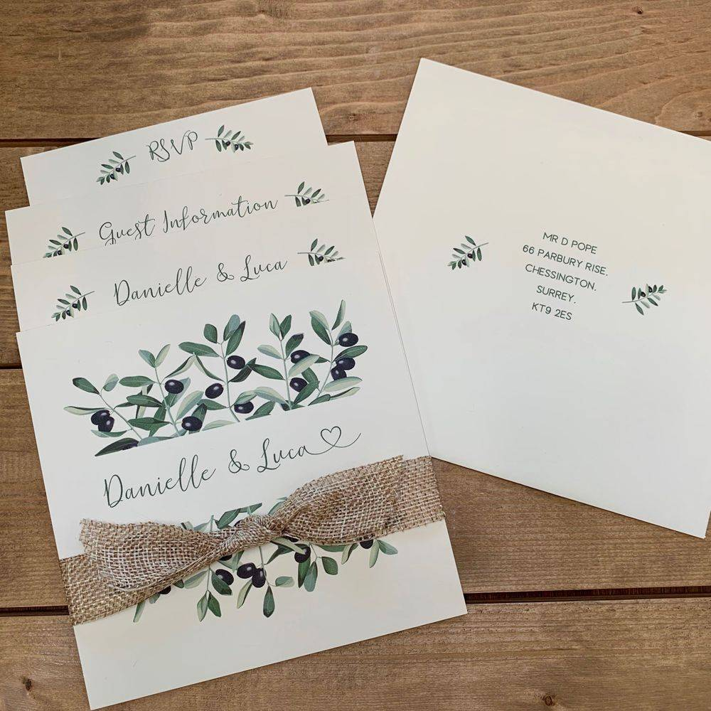 Wedding Invittaion with Olive leaves and Olive, Mediterranean style wedding invitation, weddings abroad invitations