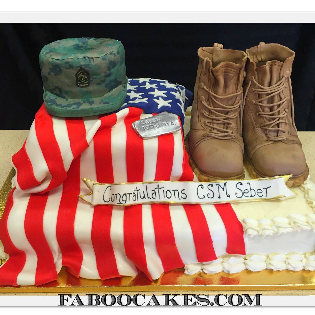 army cake military us army boots flag promotion cake csm rank