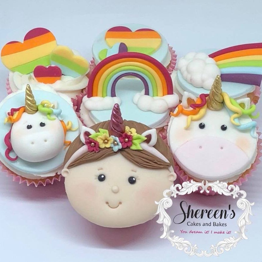 Girl Face Rainbow Fluffy Cloud Cupcake Bright Colours Celebration Unicorn Heart