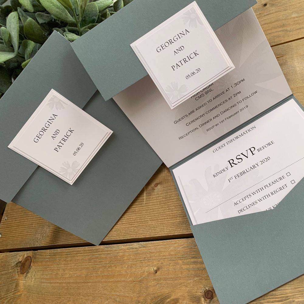 Wedding invitation in grey and blush pink