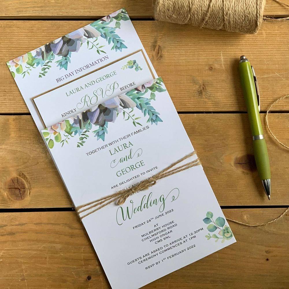 Wedding Invitation - Pollyanna string tied invitation