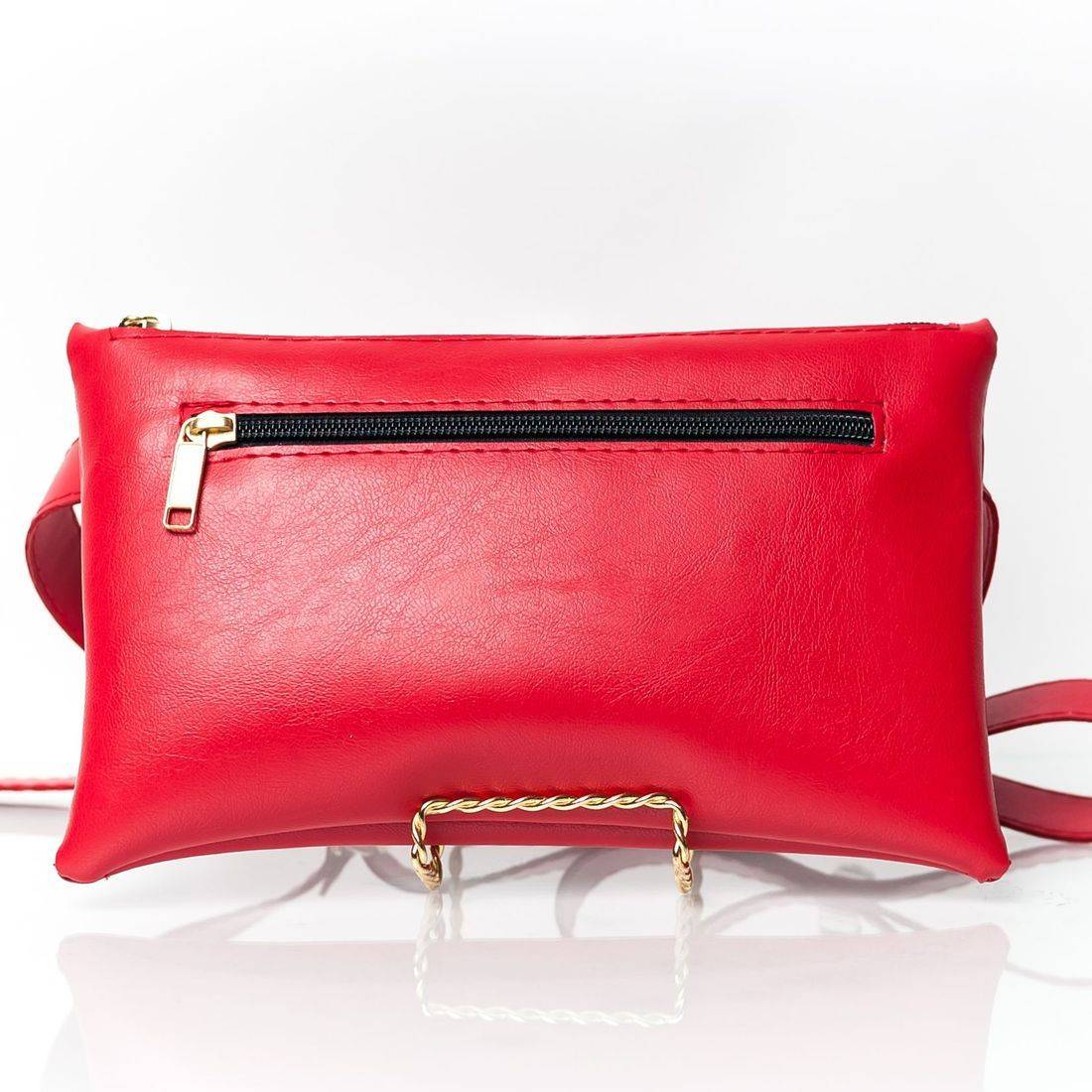 High Quality Vegan Leather Red Zippered Fanny Pack
