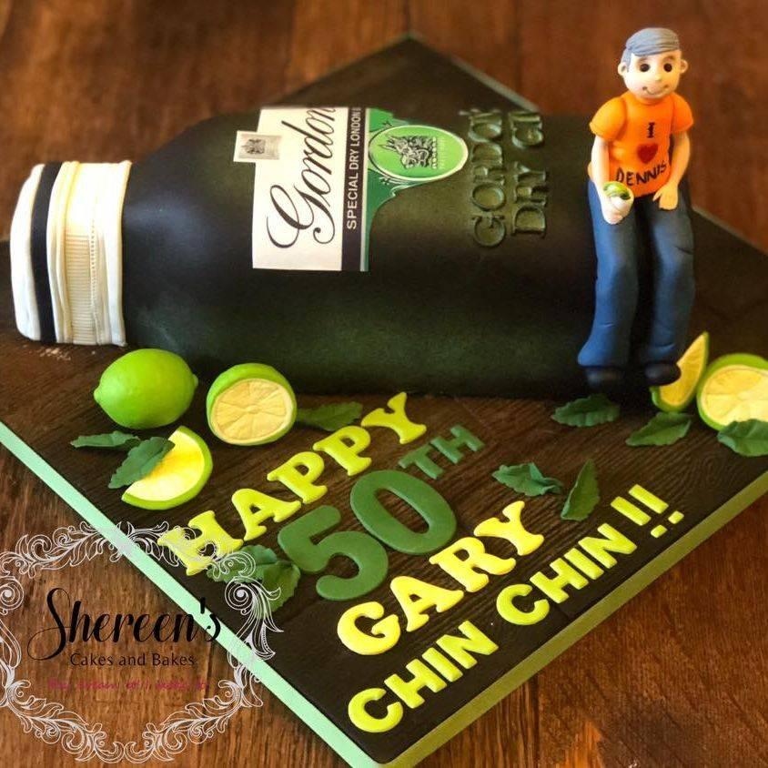 Birthday Cake gordon's gin bottle lime 50th