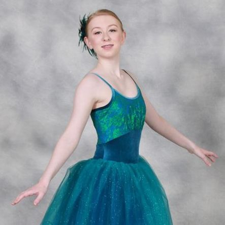 "Such a stunning dancer in her Ocean blue tutu for ""Elements""."