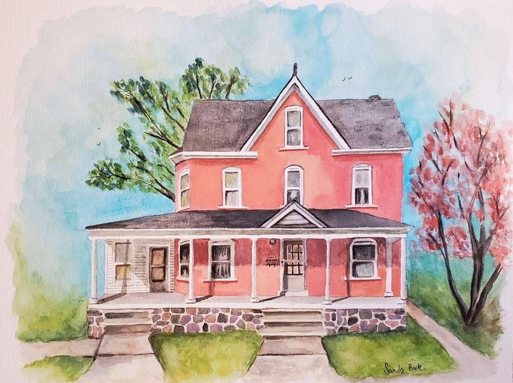 sandy bock, house portrait, portrait artist, custom portrait art, watercolor portrait
