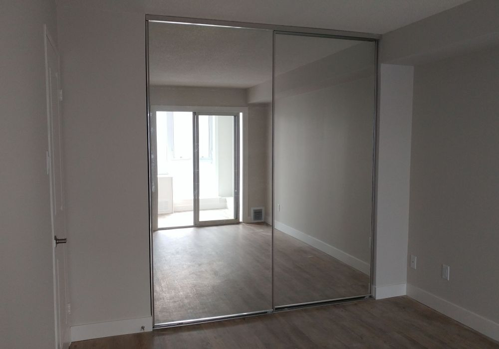 Chrome Frame Mirror Sliding Doors, Toronto, Scarborough, Markham, Newmarket, Uxbridge