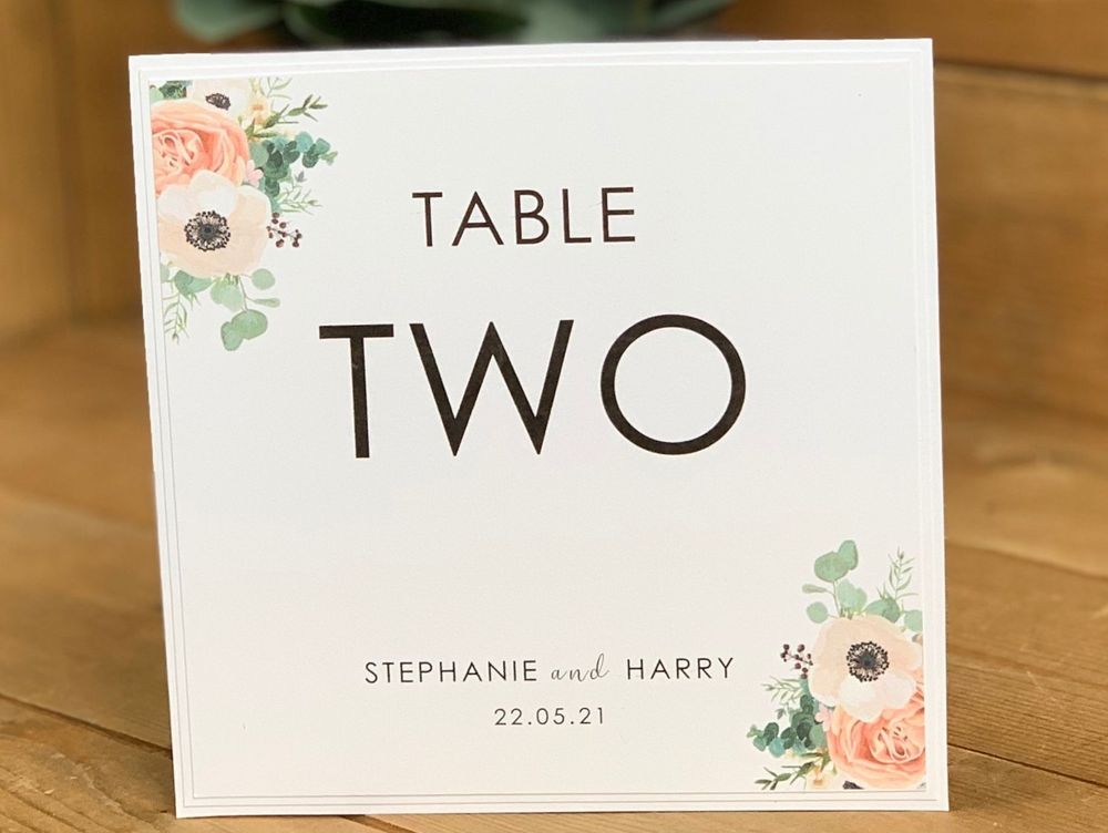Wedding table number card - Sage green/pink table number card