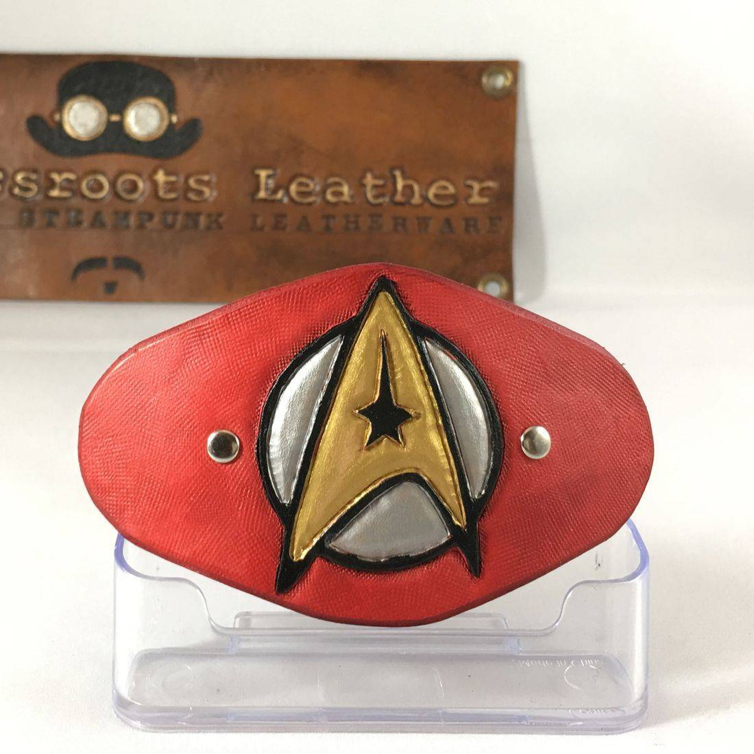 Leather Hair Clip Star Trek Enterprise (red)