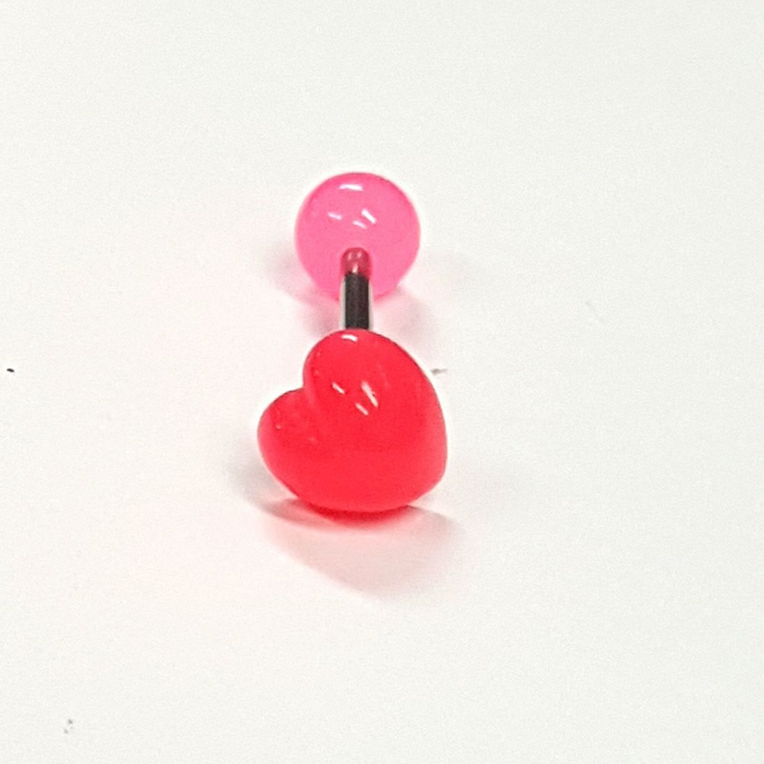 1.6mm x 14mm Pink Heart Titanium Tongue Baravailable at Kazbah online and our Leicester City Centre shop