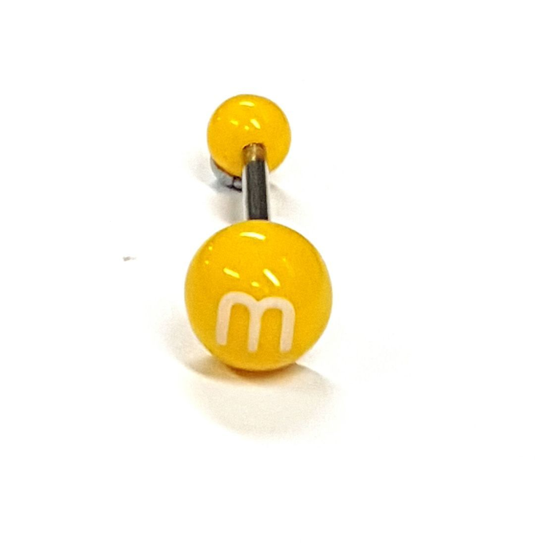 1.6mm x 14mm Yellow M&Ms Titanium Tongue Bar available at Kazbah online and our Leicester City Centre shop
