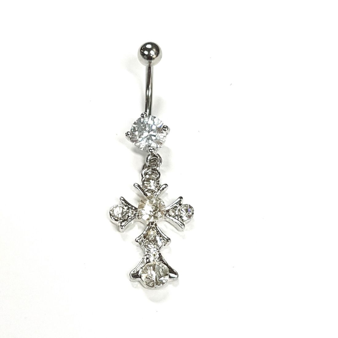 1.6mm x 10mm Clear Crystal Cross Titanium Navel Bar  available at Kazbah online and our Leicester City Centre Shop