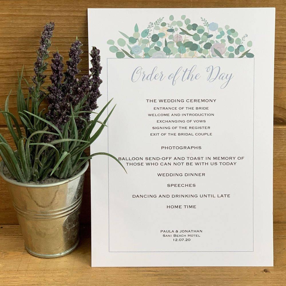 Eucalyptus, lilacs, cornflower blues,   Order of the Day Card
