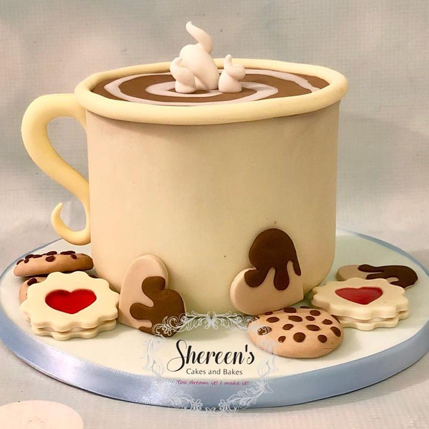 Birthday Cake Novelty Coffee Tea Cup Mug Cookies Biscuits
