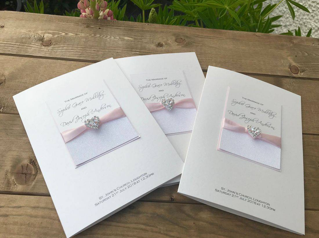 Order of Service Booklets with diamond heart