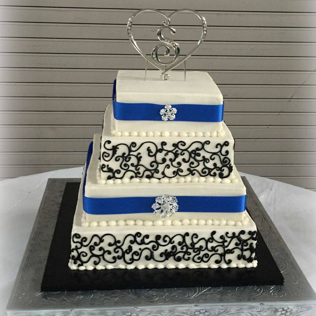 Buttercream Wedding Blue and Black scrolls crystals