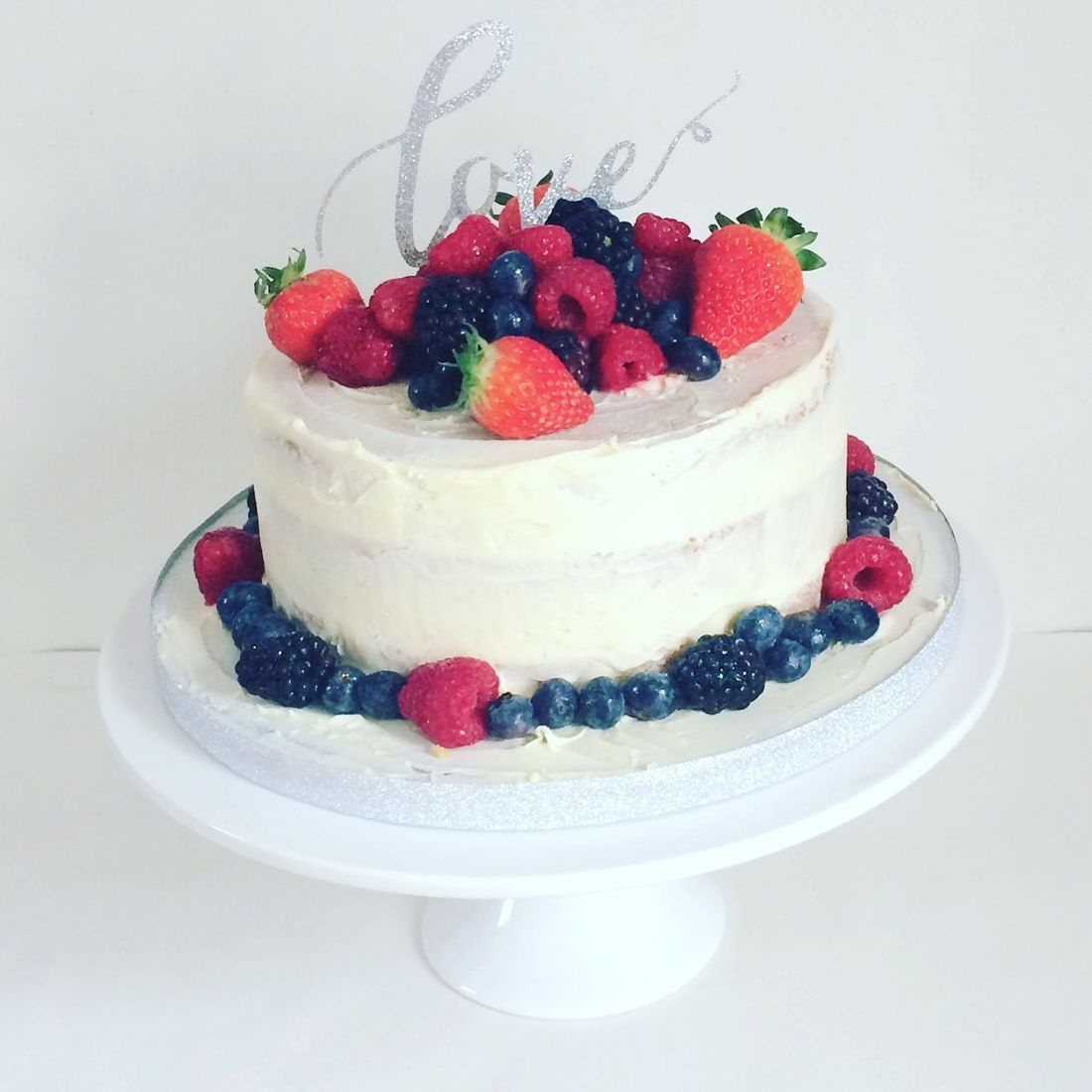 Summer Fruits semi naked Wedding cake Fabu-Lous Cakes
