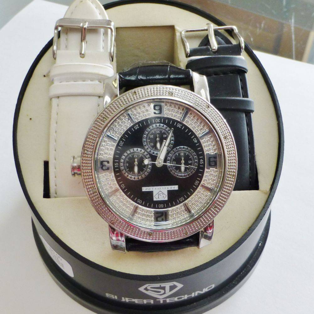 Super Techno black and white diamond mens watch with extra straps