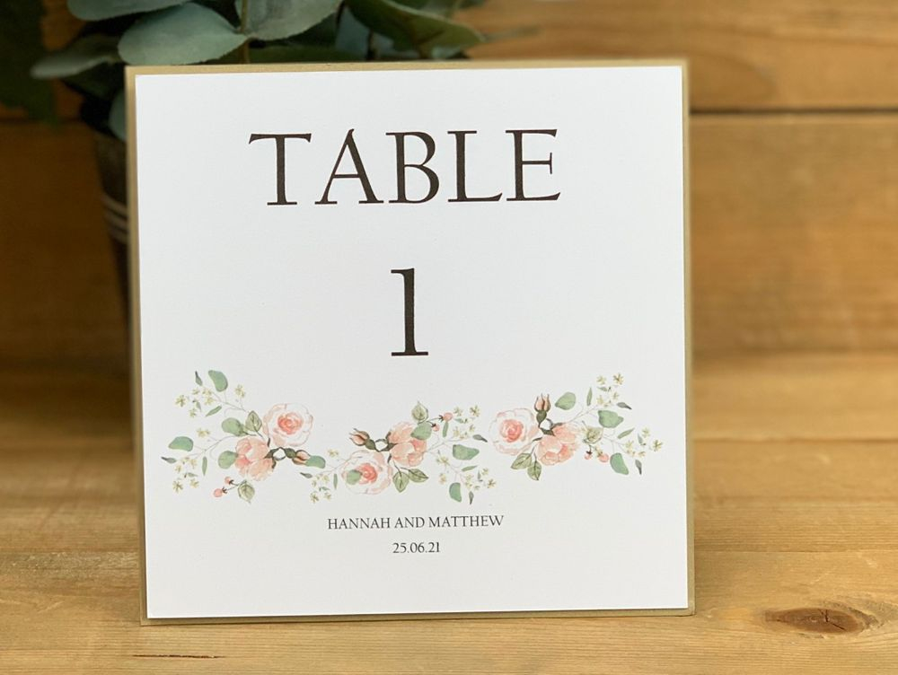 White and blush table number