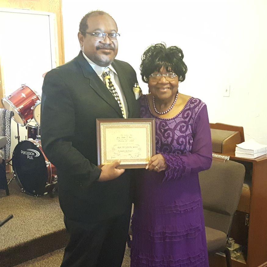 Mother Barbra Brown receiving her Evangelist License