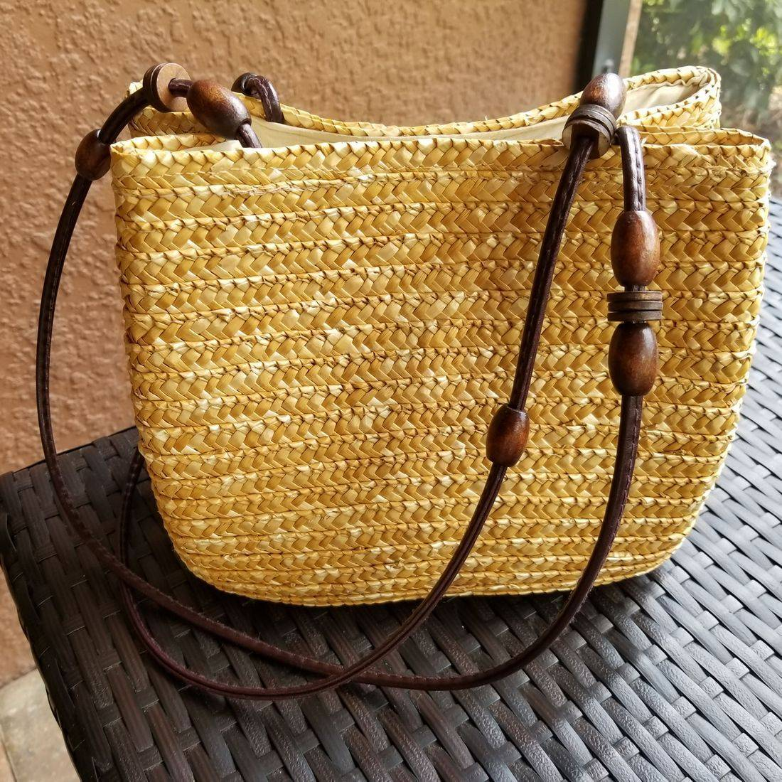 Tan hand woven purse