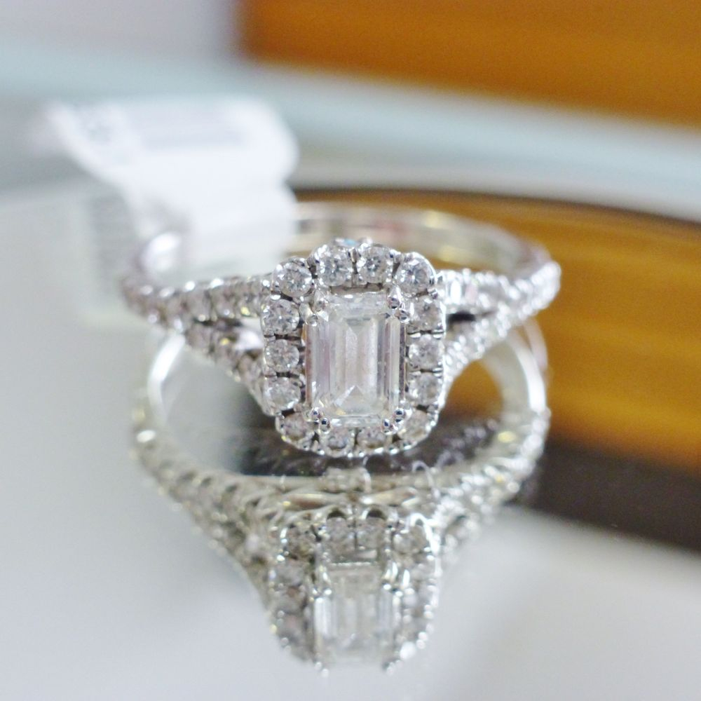 Emerald Cut Solitaire Round Diamond Halo Split Shank Engagement Ring in White Gold