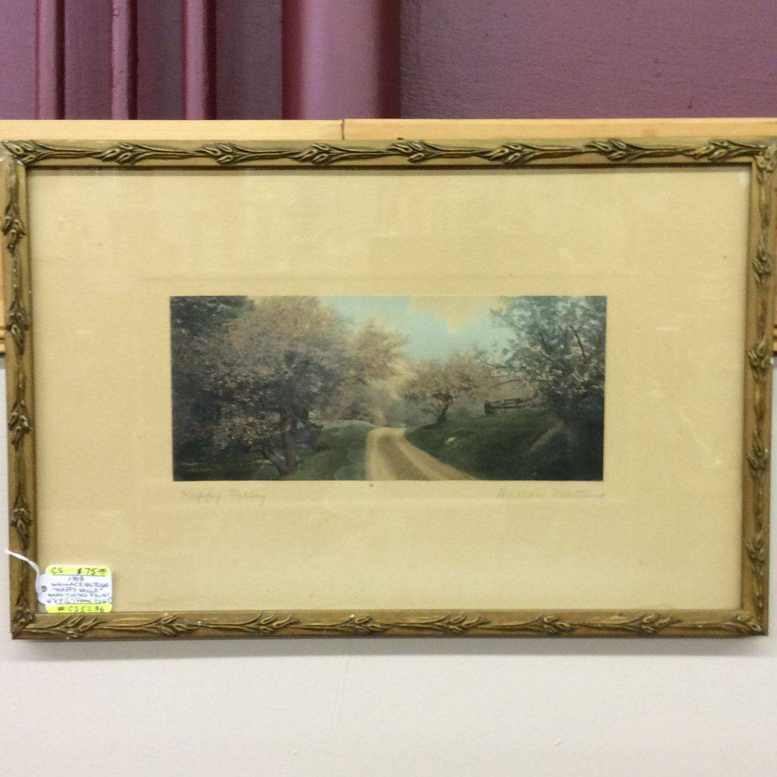 """1908 Wallace Nutting  """"Happy Valley""""  Hand-Tinted Print  4"""" x 9-1/2""""  frame: 11"""" x 16-1/2""""   $75.00"""