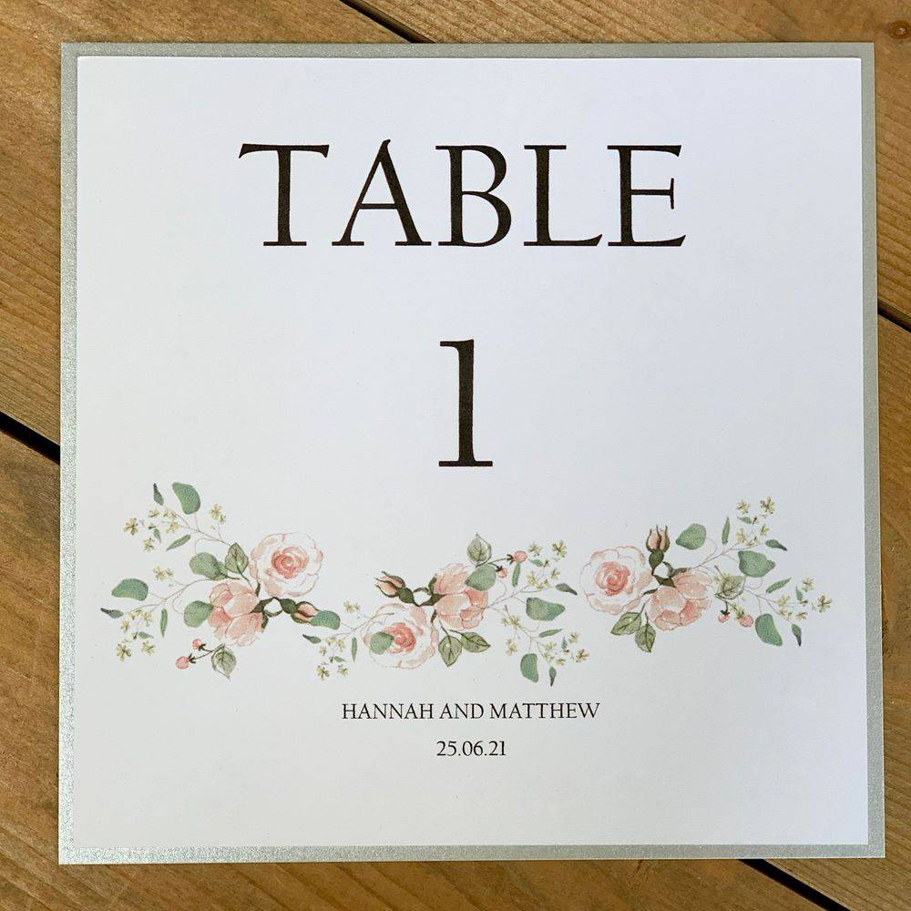 Table Number/Name card in white with pale pink and sage green