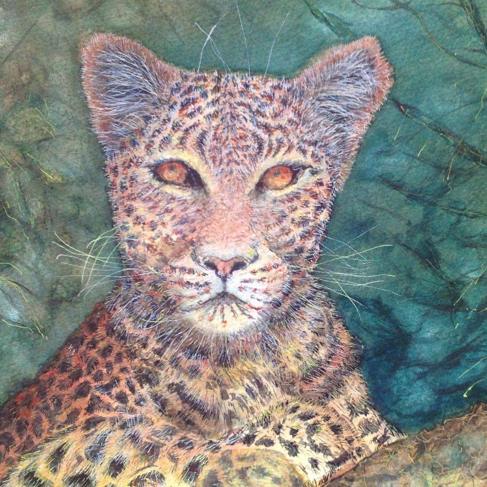 Leopard watercolour painting by Marcia Kuperberg
