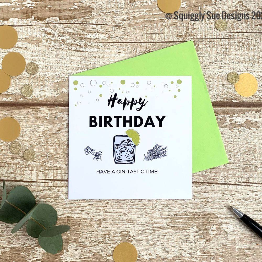 Birthday card Gin-tastic gin lover funny cheeky