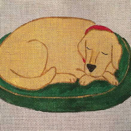 sleeping dog, golden, yellow lab