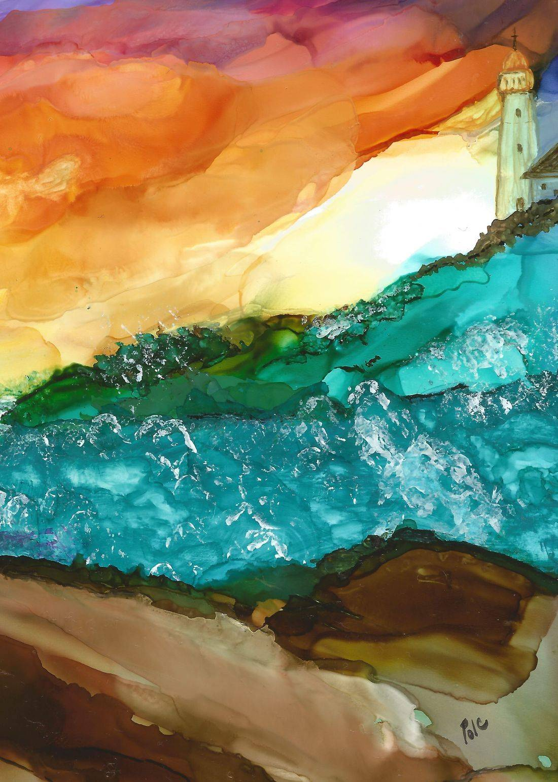 alcohol ink painting, abstract, lighthouse, abstract painting with alcohol ink, seascape, lighthouse painting, modern home decor, maritimes, ocean, beach,
