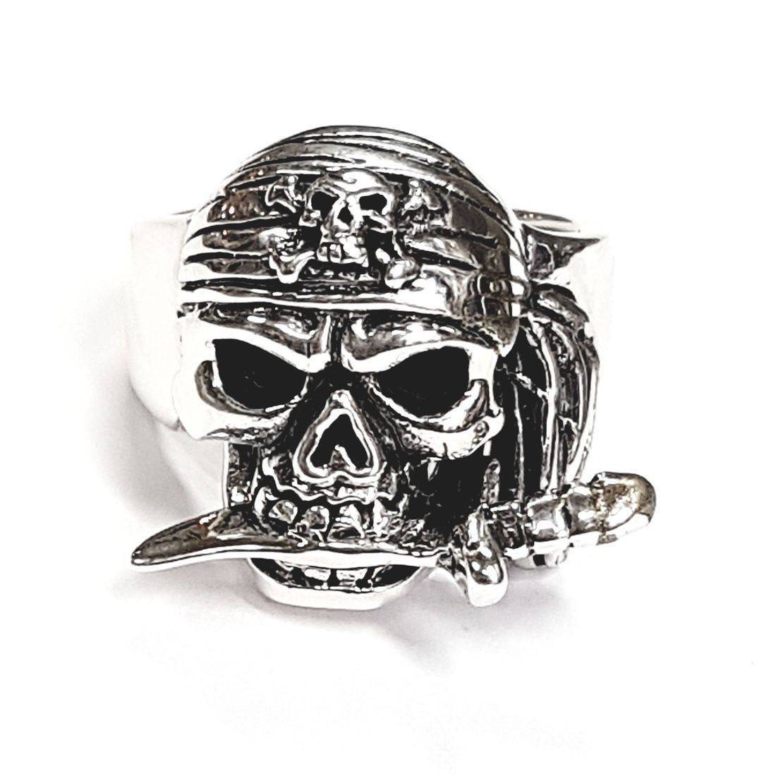 Solid Silver skull and dagger ring available at Kazbah online and our Leicester city centre shop