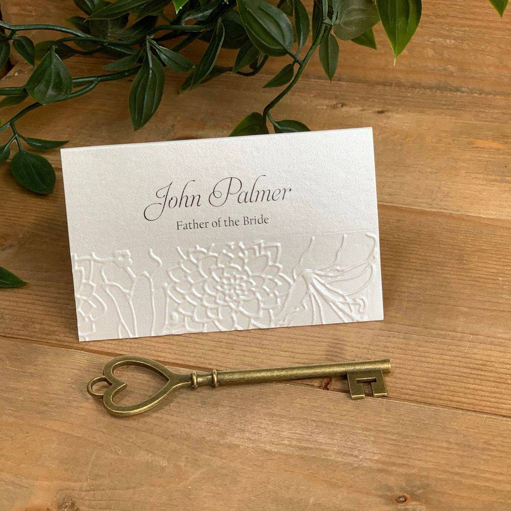 Ivory place name card with printed guest name